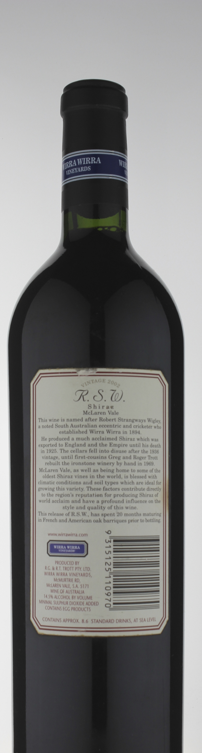 Wirra Wirra RSW Shiraz 2002 » $95 00 (✓in stock) | Cellarit
