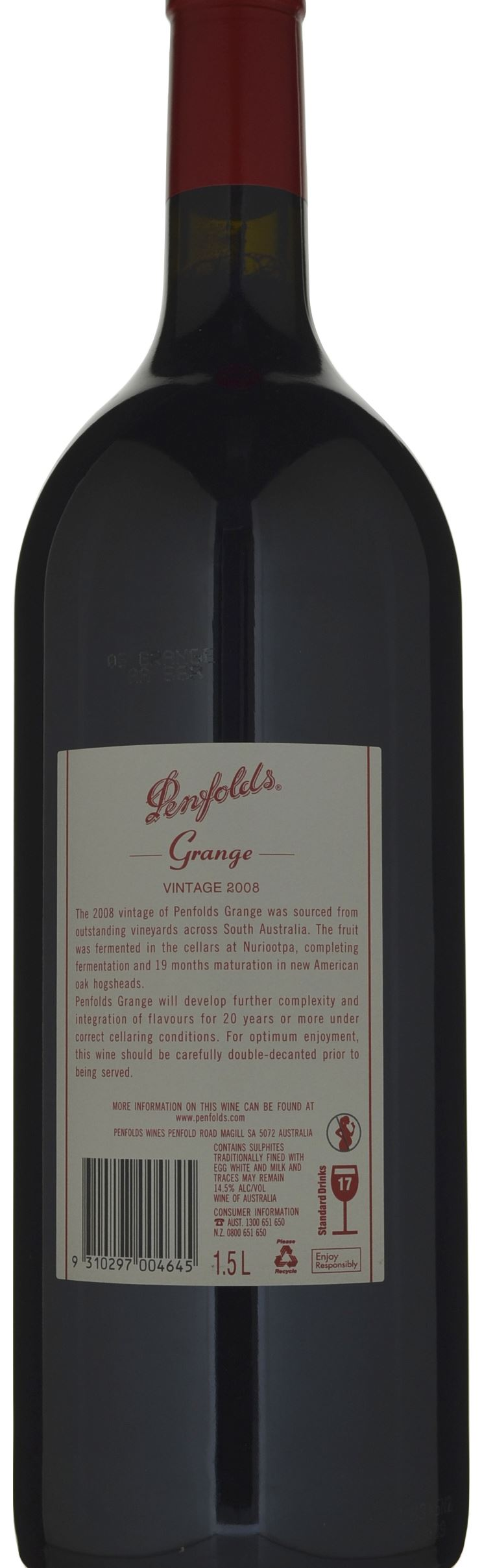 Penfolds Grange 2008 2 499 00 100pts Cellarit Wine Storage