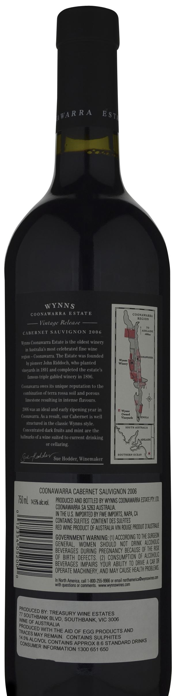 This is a graphic of Challenger Wynns Coonawarra Estate Black Label Cabernet Sauvignon